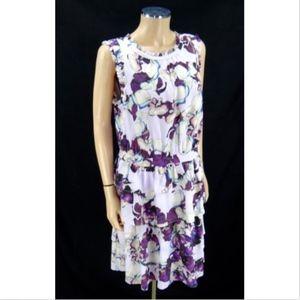 BANANA REPUBLIC ruffle dress lilac floral 14 NEW